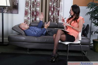 Leggy brunette Dava Foxx looking fine in pantyhose and skirt