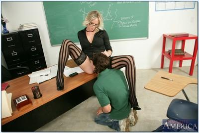 MILF teacher in glasses Britanny Lane scoring hard cock and gets facial