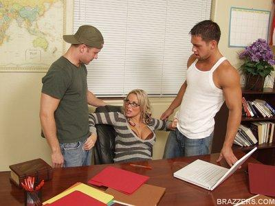 Office MILF babe in stockings Kate Frost gets into hot groupsex