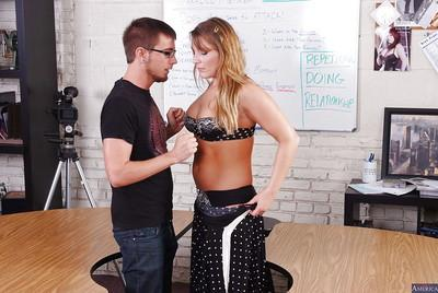 Cougar milf teacher Aurora Snow dose an amazing blowjob and handjob