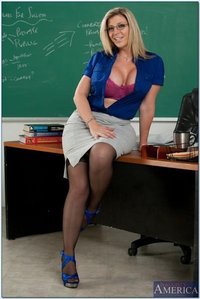 MILF fatty Sara Jay posing in lingerie like a slutty teacher.
