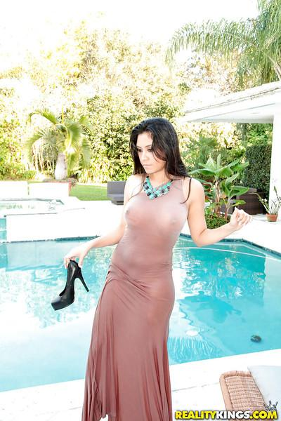 Latina MILF Alejandra Leon showing off erect nipples under dress