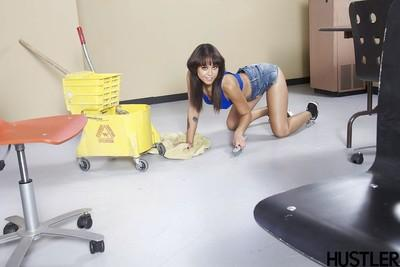 Brunette pornstar Mia Austin exposing MILF pussy underneath denim shorts