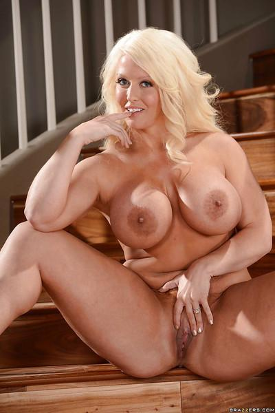 Chunky blonde with massive melons squeezes fun bags and pinches nipples