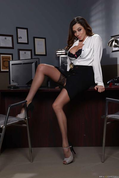 Latina solo girl Ariella Ferrera baring big MILF tits in office