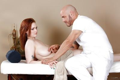 Siri was drilled by this bald man deep in her wide-opened mouth