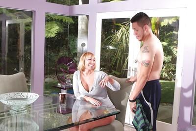 CFNM scene features non nude milf pornstar Mellanie Monroe doing blowjob