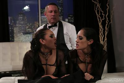 Two models Adriana Luna and Chloe Amour are sucking this cock
