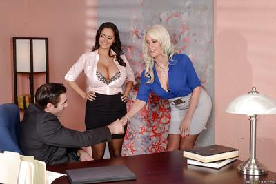 Busty Euro moms Ava Addams and Riley Jenner give oral sex in office