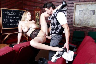 Slutty MILF in stockings Julia Ann gets her shaved twat drilled hardcore