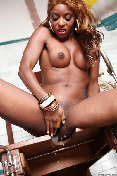 Lusty ebony babe Jasmine Webb teasing her shaved poon and squirting