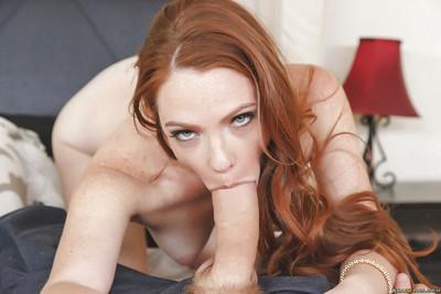 Blindfolded housewife Kassondra Raine leans back on bed for face fucking