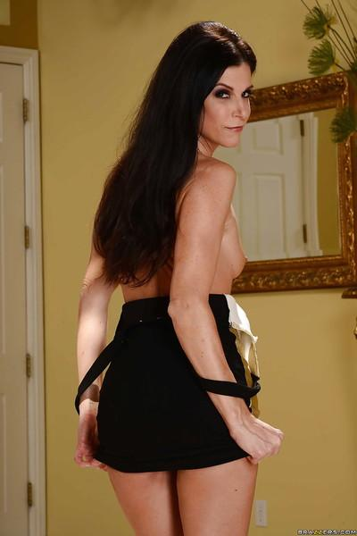 Skinny brunette solo girl India Summer exposing tiny MILF tits