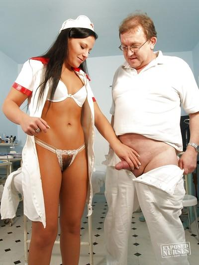 European brunette Nataly gives blowjob in sexy nurse uniform