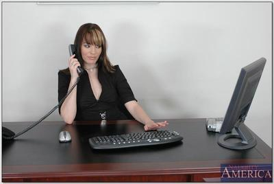 Raunchy office secretary in glasses and stockings Dana DeArmond fucked