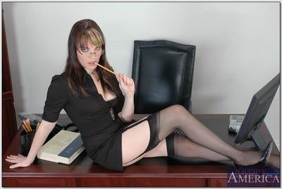 Raunchy office secretary in glasses and stockings Dana DeArmond fucked