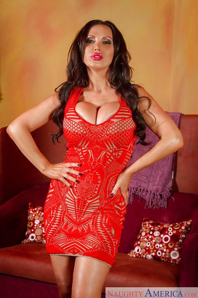 Amateur babe with huge bullets Nikki Benz poses in skirt and lingerie