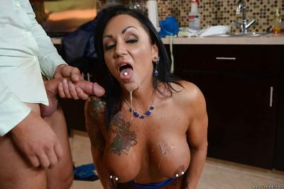 Tattooed Cougar Ashton Blake takes ass pounding from younger man