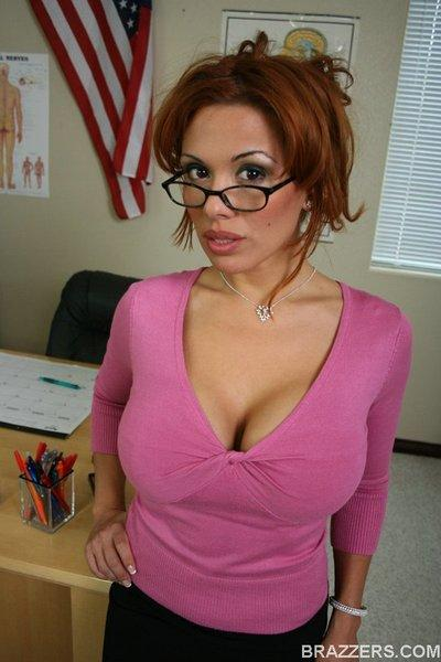 Latin MILF teacher with big tits Sienna West spreading her tight pussy