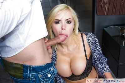 Blonde Euro MILF Nina Elle gives a great performance in an oral scene