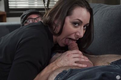 Latina cougar Kaylynn sucking younger cock and taking cumshot in mouth