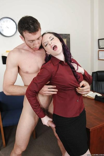 Horny MILF Caroline Pierce goes wet for hardcore office fucking