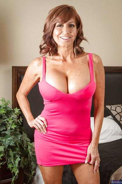 Latina milf Tara Holiday pokes her little shaved pussy with pleasure