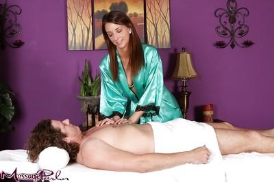 Young MILF Katie Jordan takes off underwear during massage session