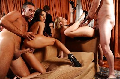 Smoking hot MILFs are into hardcore groupsex with lucky guys
