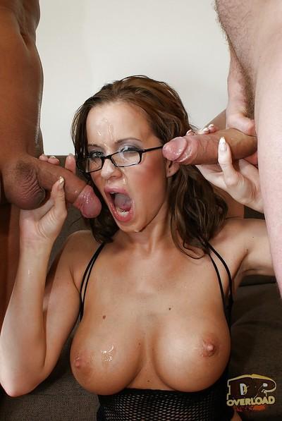 Milf secretary Cindy Dollar has her European pussy fucked in glasses