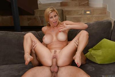 Blonde cougar Alexi Fawx and girlfriend seduce younger man for threesome