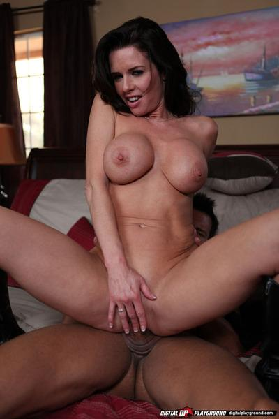 Bubbied brunette MILF gives a fervent blowjob and gets shagged hardcore