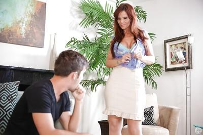 Undressing action with a beautiful cougar milf Syren De Mer doing blowjob