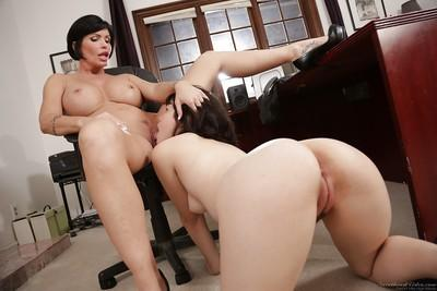Mature dyke Shay Fox forces barely legal Asian cutie Yhivi to lick pussy