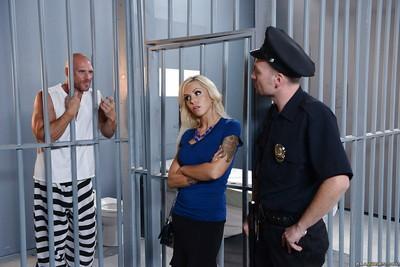 European milf blondie Nina Elle has her pussy fucked hard in a jail