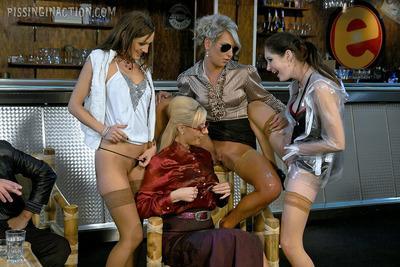 Lecherous piss sluts have a passionate groupsex with a bald guy