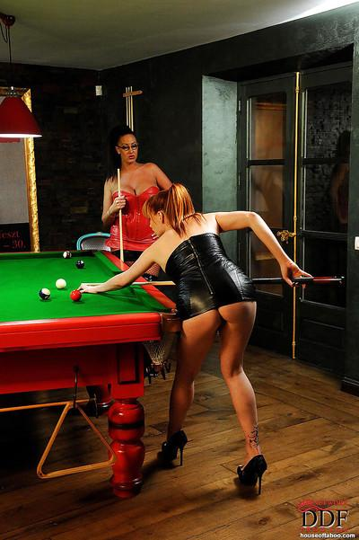 Busty MILF in glasses Emma Butt dominates Tarra White in the pool hall
