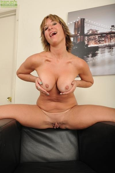 Over 30 MILF Skyler Haven stripping out of skirt and bra to bare pussy
