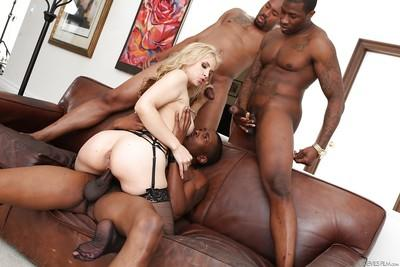 Naughty white chick Sarah Vandella takes BBC in ass and pussy