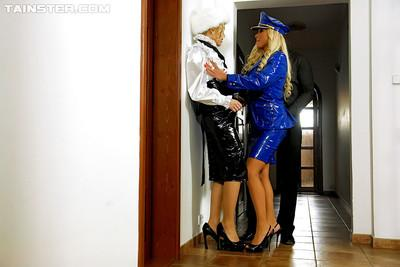 Lecherous european fetish ladies enjoy a fervent fully clothed FFM groupsex