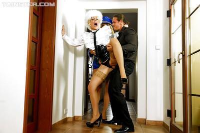 Lecherous european fetish ladies enjoy a fervent fully clothed FFM groupsex