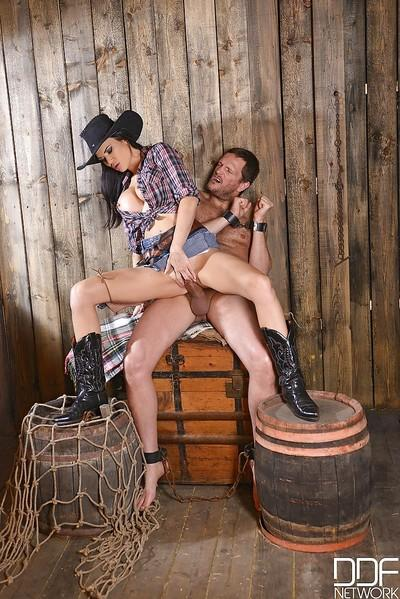 Busty cowgirl Jasmine Jae taking thick cock in pierced vagina