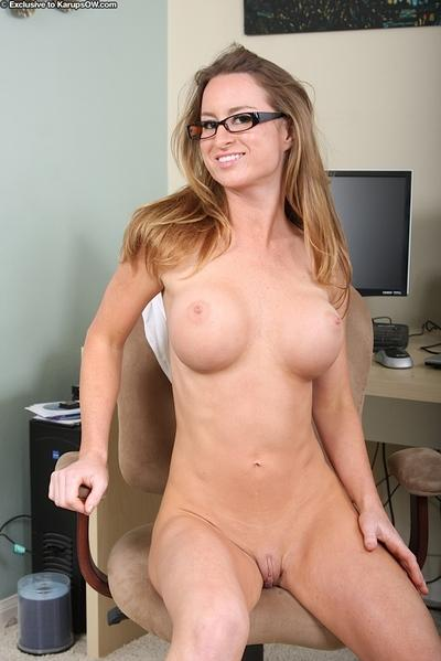 Big busted office MILF in glasses undressing and teasing her slit