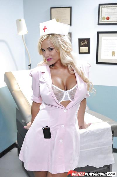Milf nurse Shyla Stylez is sucking her fingers and undressing