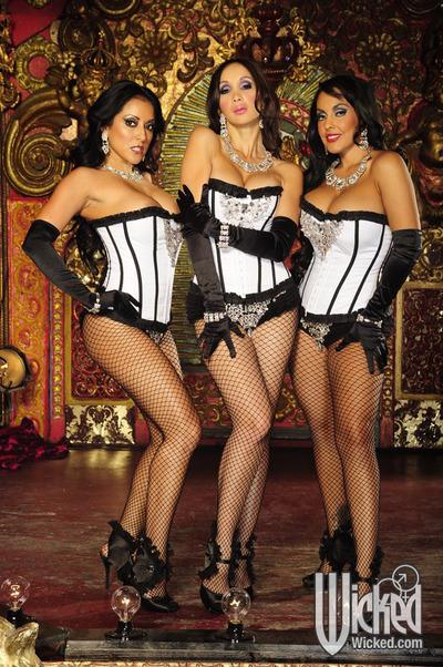 Hot lesbians Katsuni, Nina Mercedez and Kiara Mia toy and lick pussy
