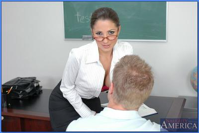 Hot teacher in glasses and stockings Baby Jayne shafted on her desk