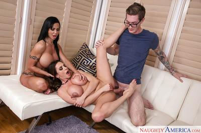 Latina MILF Ariella Ferrera joins busty Jewels Jade for FFM threesome