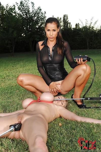Sexual BDSM vixen Katarina plays with her cute slave Satin Bloom