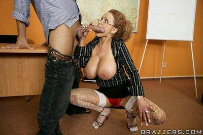 MILF teacher Sharon Pink expose her boobs and pussy for a fuck