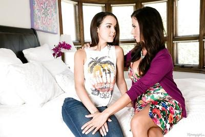 Lesbians Dillion Harper and Ariella Ferrera are kissing and humping